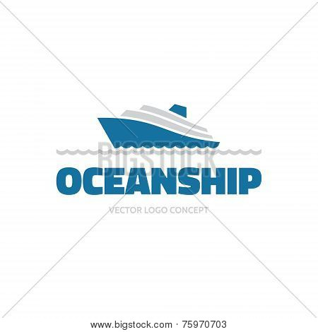 OceanShip - vector logo concept. Sea ship illustration. Vector logo template.