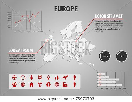 Map of Europe - infographic illustration with charts and useful icons