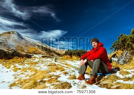 Climber  In The Carpathian Mountains