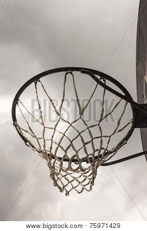 Look at the heaven through a basketball hoop.