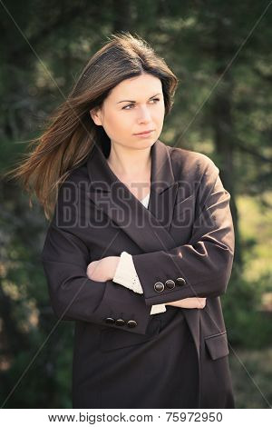Fashion young woman outdoor portrait