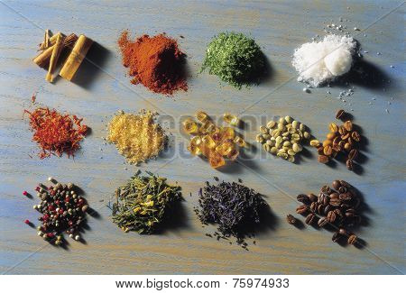 Piles Of Spices On A Mottled Background