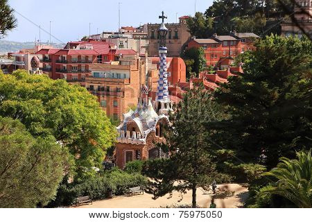 Barcelona, Spain - July 8: The Famous Park Guell On July 8, 2014 In Barcelona, Spain. The Famous Par