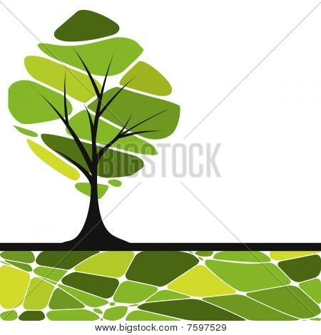card design with stylized trees and text. vector illustration