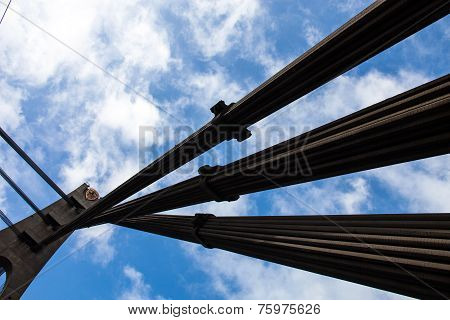 Pylon And Cables Of The Cable-stayed Bridge In Kyiv