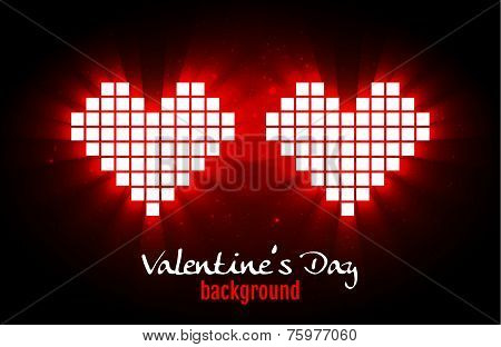 Shining Pixel Hearts For Valentine's Day Designs. Online Dating, Distant Relationship And Love Conce