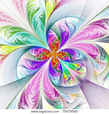 Diagonal Symmetric Multicolored Fractal Tracery. Collection - Frosty Pattern. On White.
