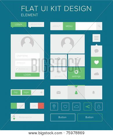 Flat Ui Kit Design Elements Set For Webdesign