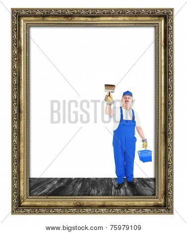 House Painter Covers  Inside Of Empty Frame
