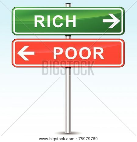 Rich And Poor Directional Sign