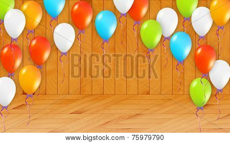 Balloons In Wooden Room