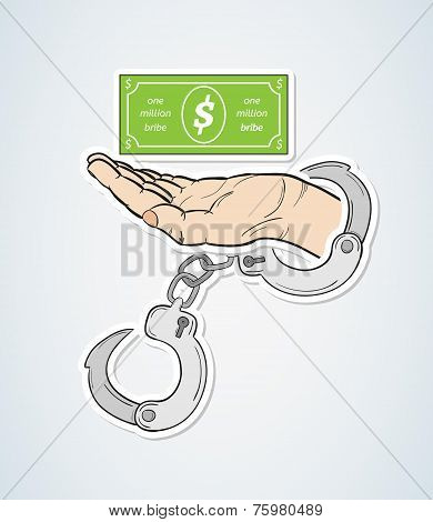 Bribe And Hand With Handcuffs