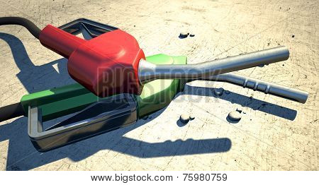 Petrol Nozzles In The Desert