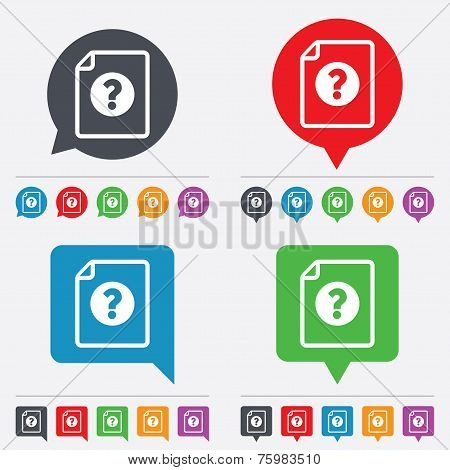 File document help icon. Question mark symbol.