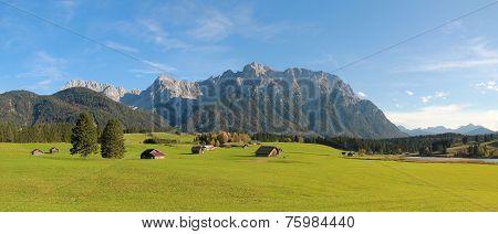 Rural Landscape Near Mittenwald, Farmland With Huts