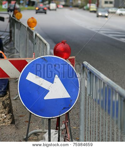 Sign With Arrow To Roadworks
