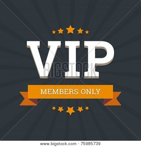 VIP - members only vector background card template with stars an