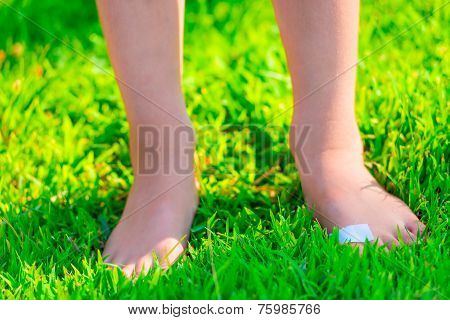 Barefooted Child With A Plaster On A Foot Stands On Lush Grass