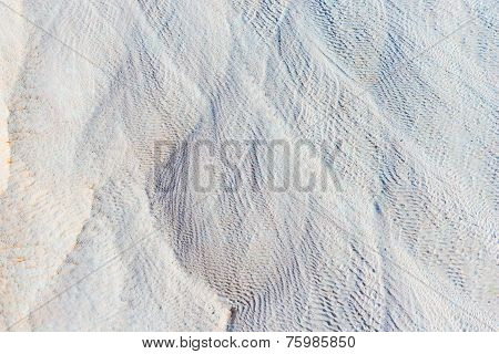 White Lime Deposits In Pamukkale Closeup