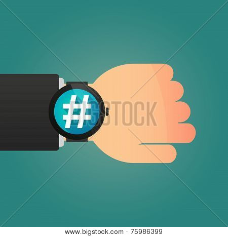 Hand With A Smart Watch Displaying A Hash Tag