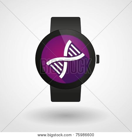 Smart Watch Icon With A Dna Sign
