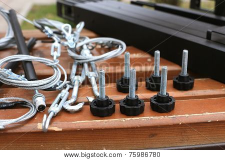 Bolts, Fastening, Rope Lying On A Wooden Bench