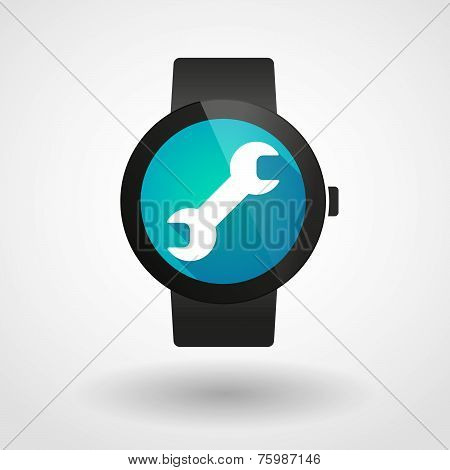 Smart Watch Icon With A Monkey Wrench