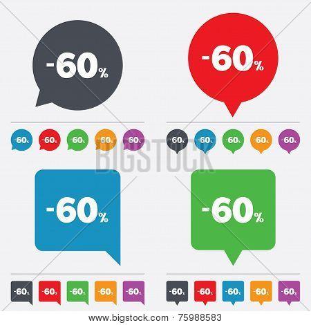 60 percent discount sign icon. Sale symbol.