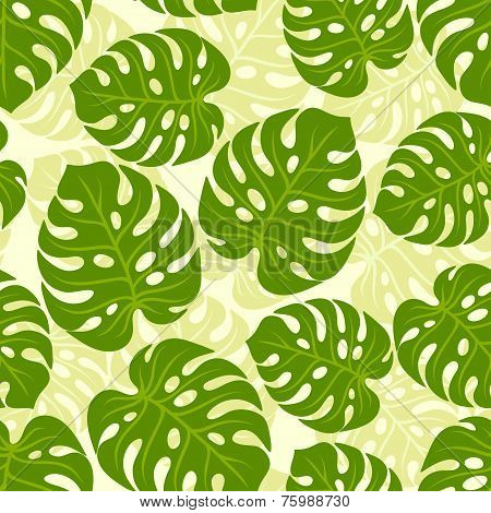 Seamless tropical pattern with stylized monstera leaves.