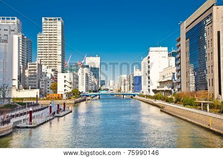 Odaiba district has a many water canals, Tokyo, Japan. Odaiba is a group of artificial islands built in the late 19th century.