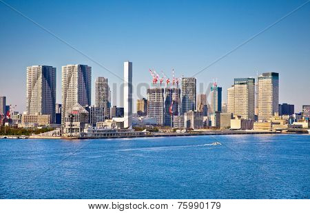 Panoramic view on Odaiba from Sumida river, Tokyo city,  Japan. Day photo.