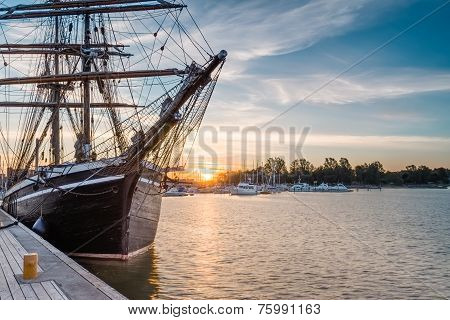Sailing  Ship On Sunrise.