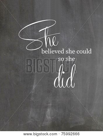Chalkboard Motivational Quote for Girls