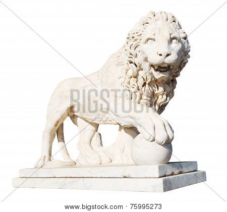 Medici Lion With Stone Ball Isolated On White