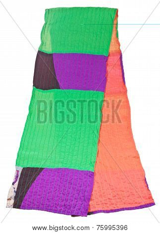 Hand Made Patchwork Scarf Isolated On White