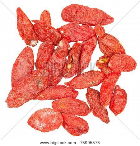 Handful Of Dried Goji Berries Isolated