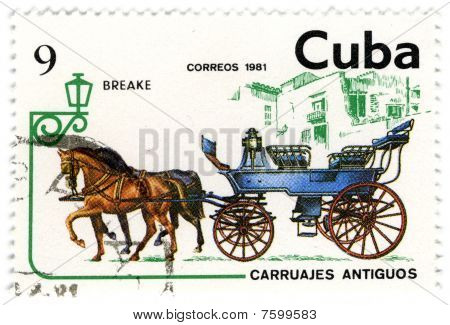 Cuba - Circa 1981: A Stamp Printed In Cuba Shows Image Of The Crew, With Horses.