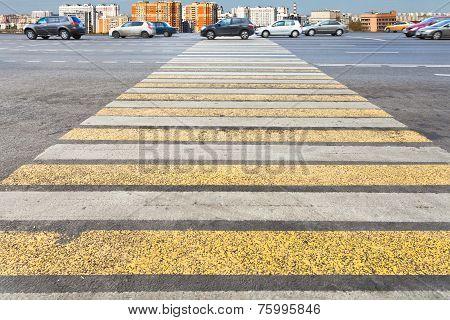 Pedestrian Crossing On Urban Street