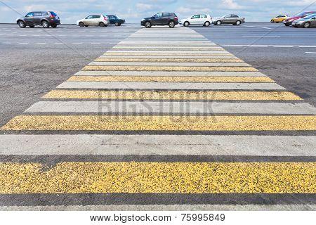 Pedestrian Crossing On Road