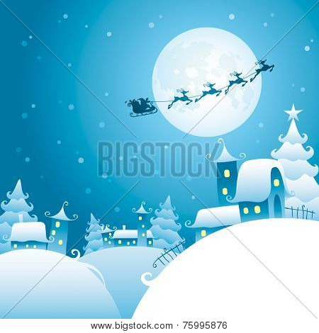 Santa's sleigh flying over the moon
