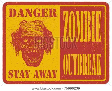 Zombie. Hand drawn. Warning sign. Vector illustration.