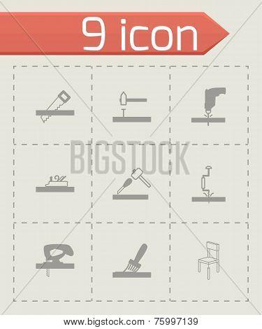 Vector black carpentry icons set