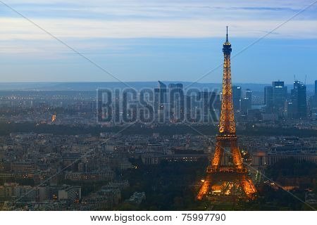 Eiffel tower at night in Paris.
