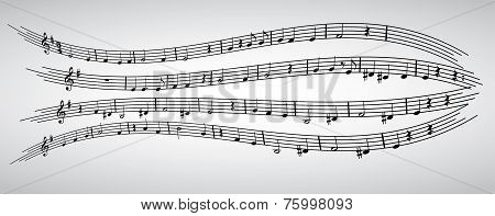 notes, stave, treble clef, composition, musical, pattern