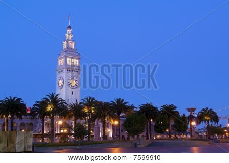 San Francisco Ferry Building Clock Tower - Night