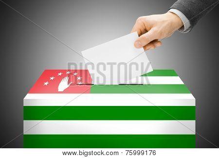 Voting Concept - Ballot Box Painted Into National Flag Colors - Abkhazia