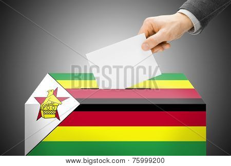 Voting Concept - Ballot Box Painted Into National Flag Colors - Zimbabwe