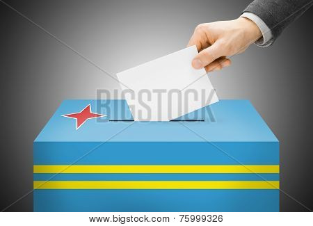 Voting Concept - Ballot Box Painted Into National Flag Colors - Aruba