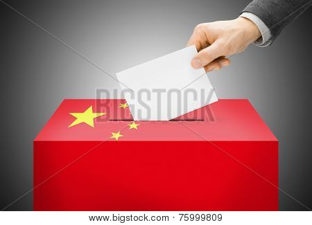 Voting Concept - Ballot Box Painted Into National Flag Colors - People's Republic Of China