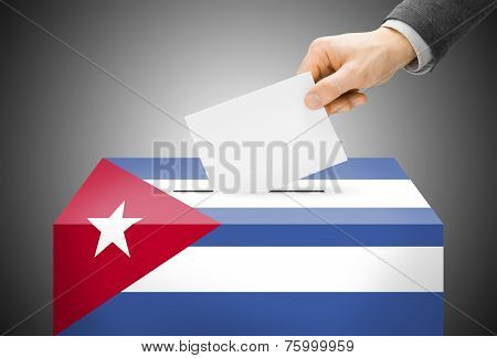 Voting Concept - Ballot Box Painted Into National Flag Colors - Cuba